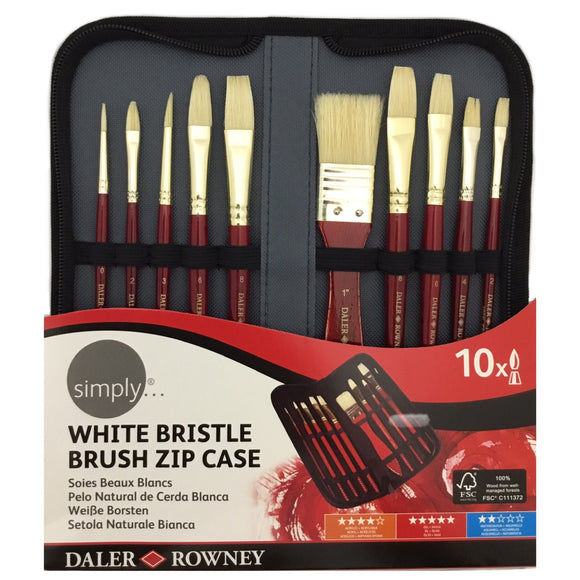 DALER-ROWNEY White Bristle Brush Zip Case Set