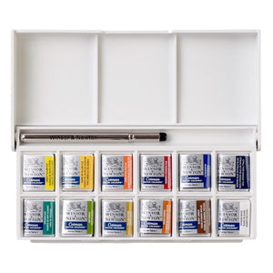 Winsor & Newton Cotman Watercolour Sketchers Pocket Box-Water Colour-Brush and Canvas