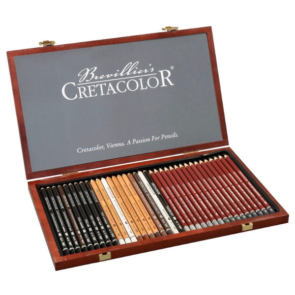 CRETACOLOR Sketch and Graphite Wooden Box Set
