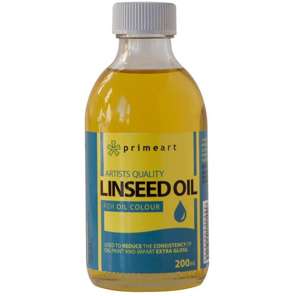 Prime Art Refined Linseed Oil 200ml-Oil-Brush and Canvas