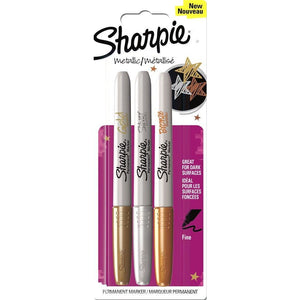 Sharpie Assorted Fine Metalic - 3 Pack-Fibre & Felt Tips-Brush and Canvas