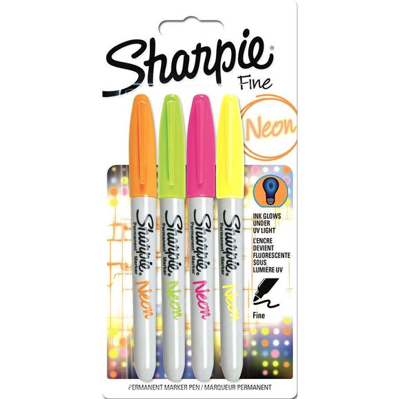 Sharpie Assorted Fine Neon - 4 Pack-Fibre & Felt Tips-Brush and Canvas