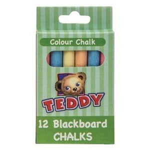 Teddy Chalk Assorted Colours 12 Piece-Drawing & Colouring-Brush and Canvas