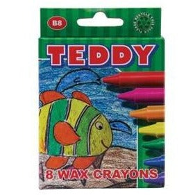 Teddy Medium Wax Crayons 8 Piece-DRAWING & COLOURING-Brush and Canvas