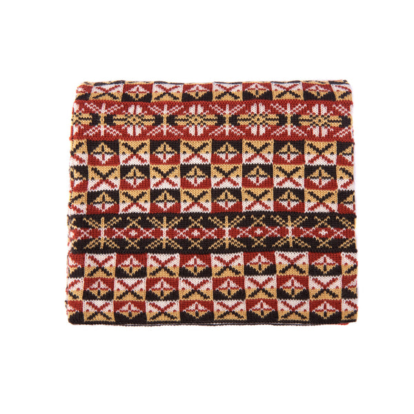 Family 6) - 2-ply 4-colour Scarf with Sand pattern and Large Motifs - C908 - BAKKA