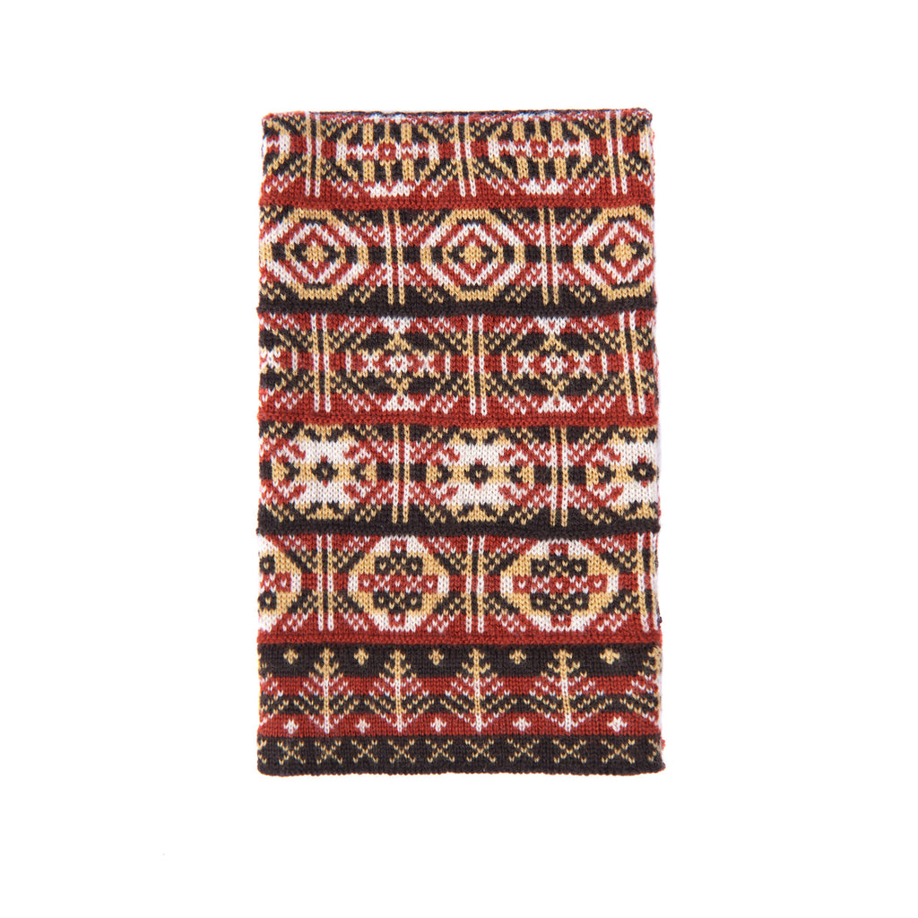Design 7) - 4-colour Old Pattern Scarf with Large Motifs, Leaves at Ends -  Mini - C951 - BAKKA