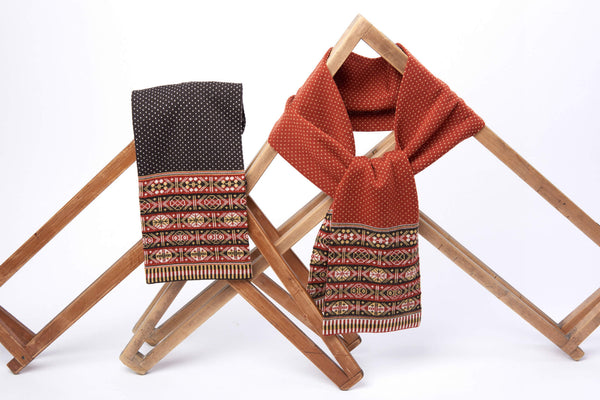 Family 4) - 4-colour Scarf Fair Isle ends only - Rust- C902 - BAKKA