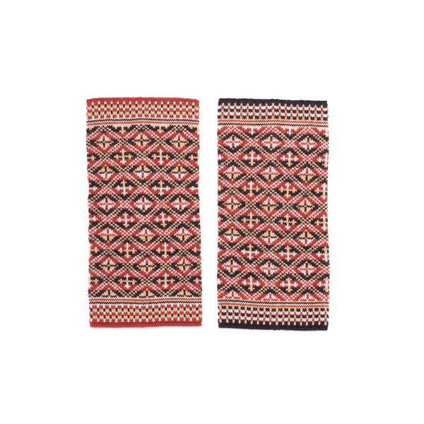 Family 4) -  4-Colour Wristwarmers Reversible Fair Isle - W4 - BAKKA