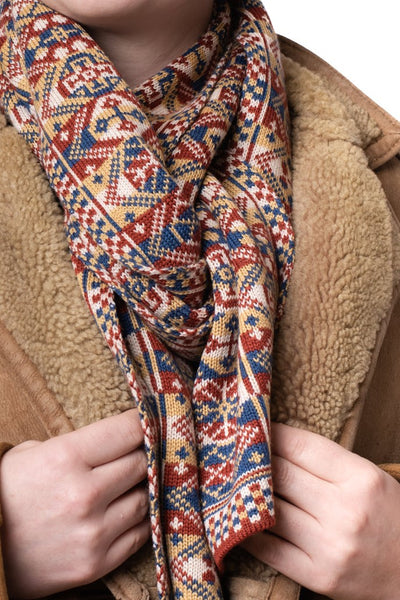 Design 4 - Thick Fair Isle Scarf in Heritage Colours - 8N3 - BAKKA