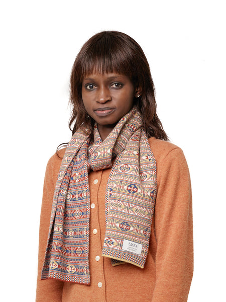 Family 2) - 4-colour Classic Design Scarf Reversible Fair Isle - TJ2 - BAKKA