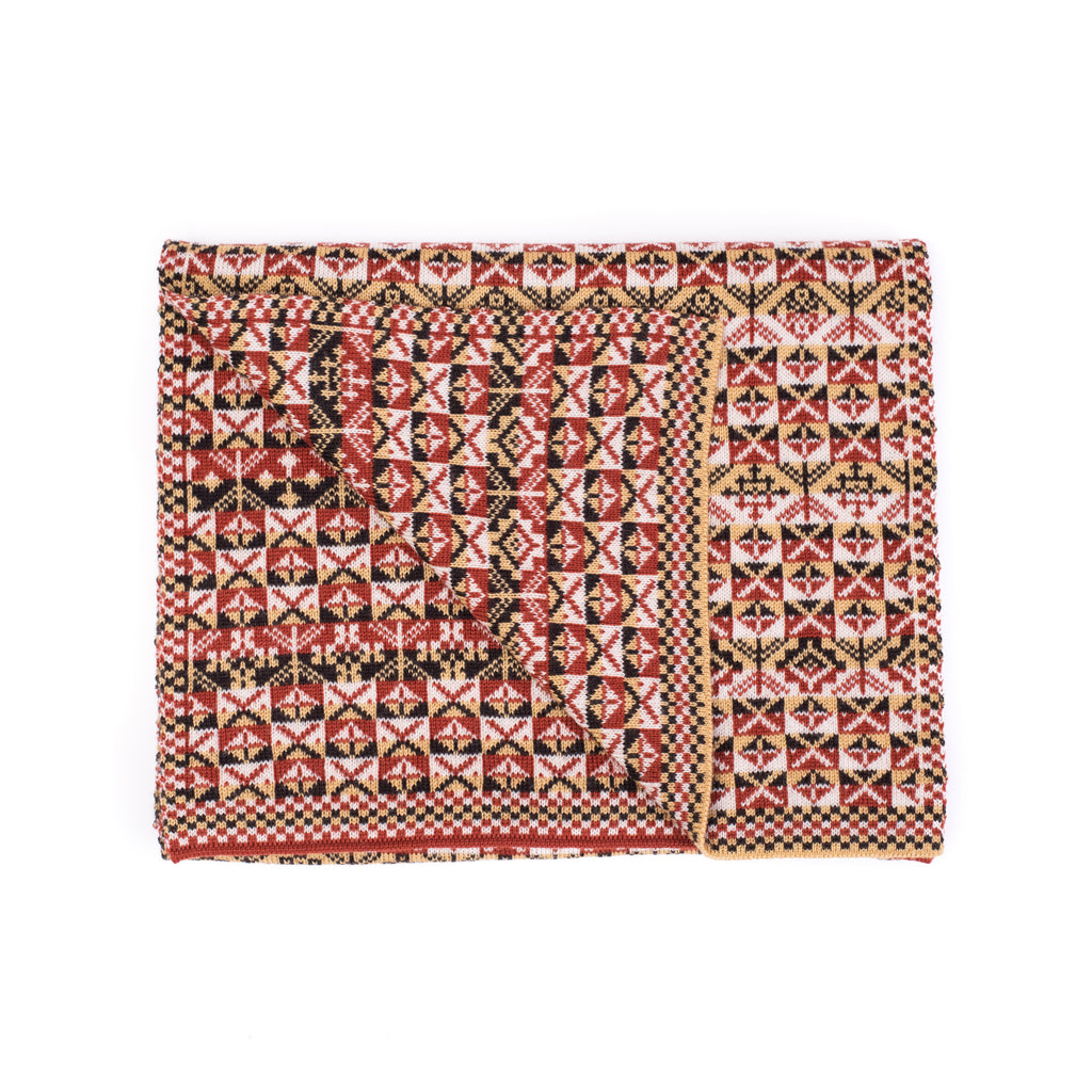 Family 6) - 4-colour Scarf with Sand pattern and Large Motifs Reversible Fair Isle - TJ6 - BAKKA