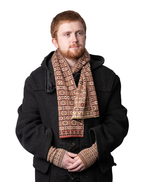 Family 7) - 4-colour Old Pattern Scarf with Trees at Ends Reversible Fair Isle - TJ7 - BAKKA