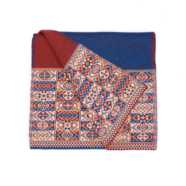 Family 4) -  Reversible Fair Isle Scarf with blue/rust polkadot centre - TJ3 - BAKKA