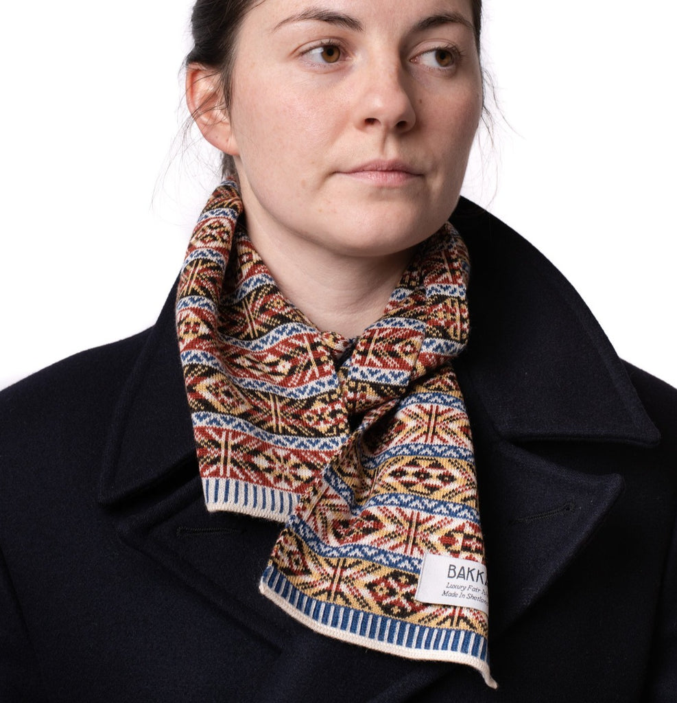 Family 1) - 5-colour Classic Design Mini Scarf Reversible Fair Isle - TJ1mini - BAKKA