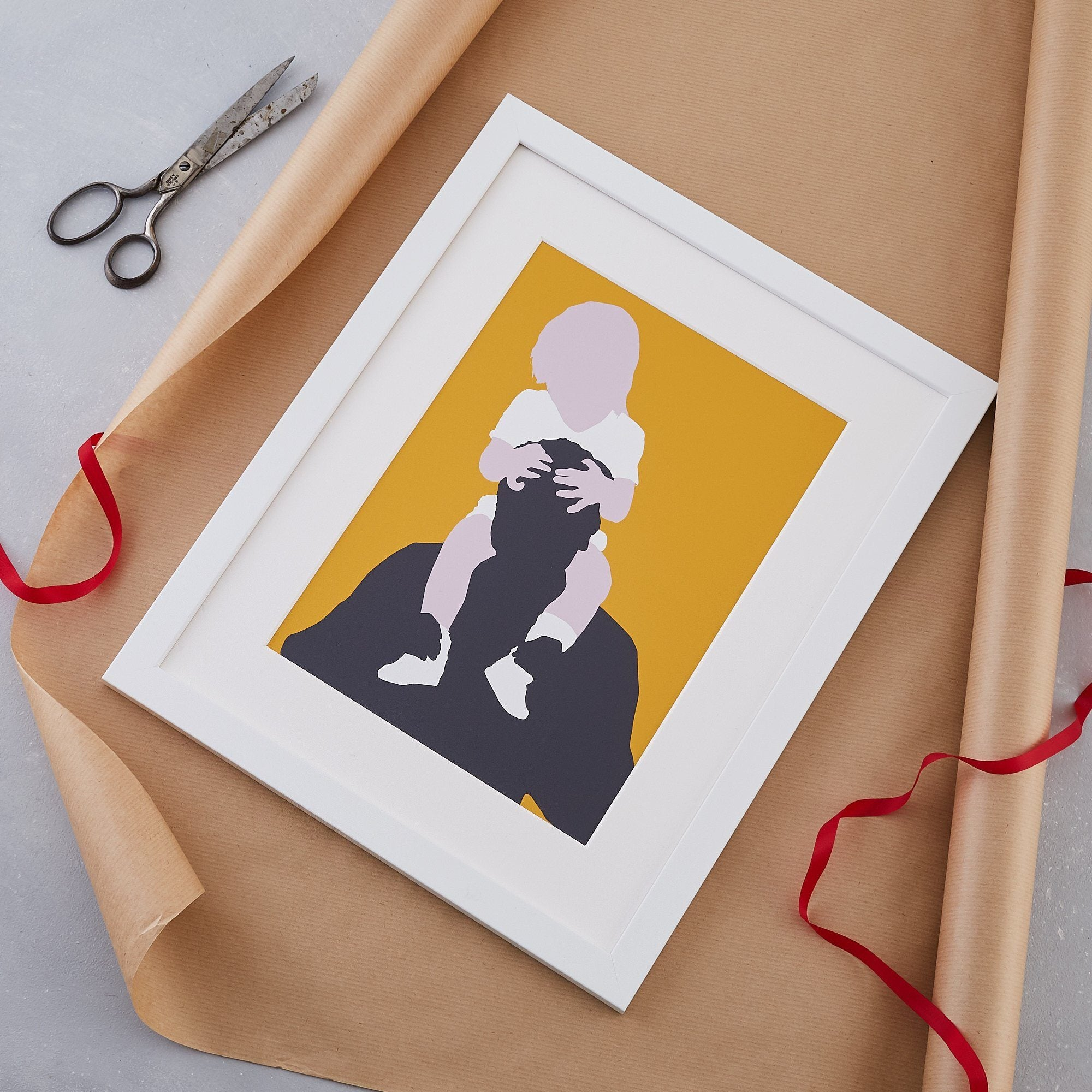 Family silhouette print. Modern family photograph reinterpreted for Fathers Day