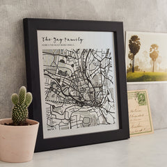 metallic engraved map print personalised to your town