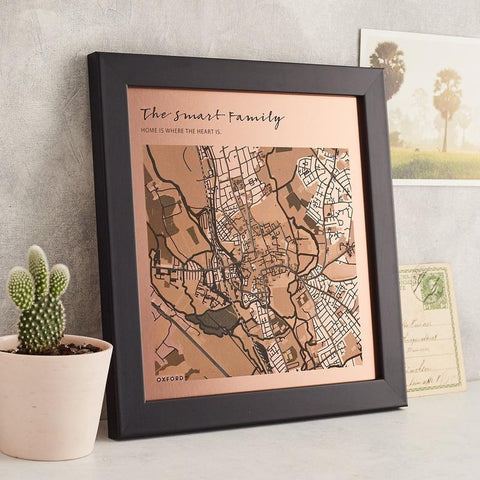 personalised map engraving in copper