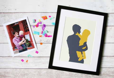 personalised portrait silhouette print made from your original photograph