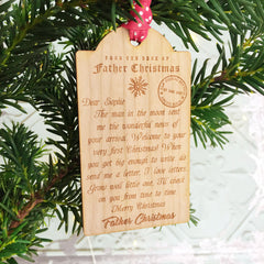 letter from Santa wooden Christmas baby ornament