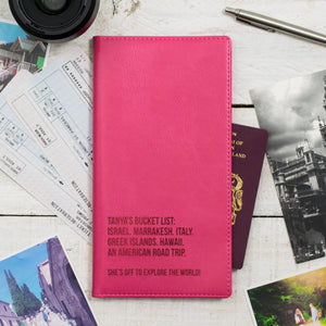 Raspberry pink travel wallet