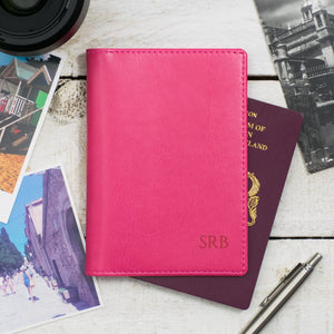 Raspberry Monogram Passport Cover