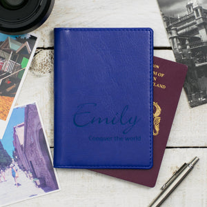 Royal Blue Script Passport Cover