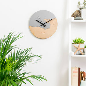 Coastline Wooden And Acrylic Personalised Clock