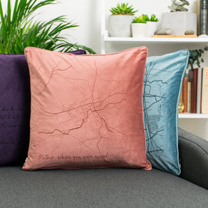 Velvet Personalised Map Cushion  Home - Betsy Benn