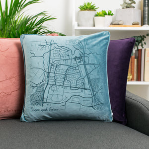 Velvet Personalised Map Cushion