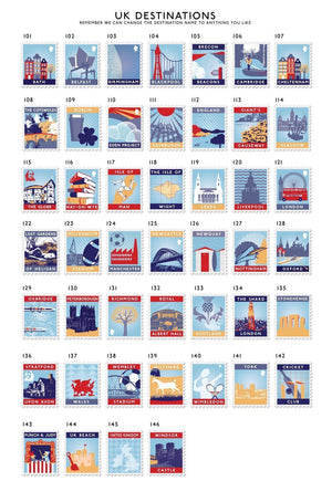 25th Anniversary Favourite Places Stamp Print