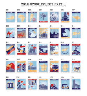 Nine Postage Stamp Destination Print
