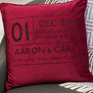 Wedding Date Anniversary Personalised Velvet Cushion