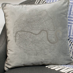 London Map Velvet Cushion