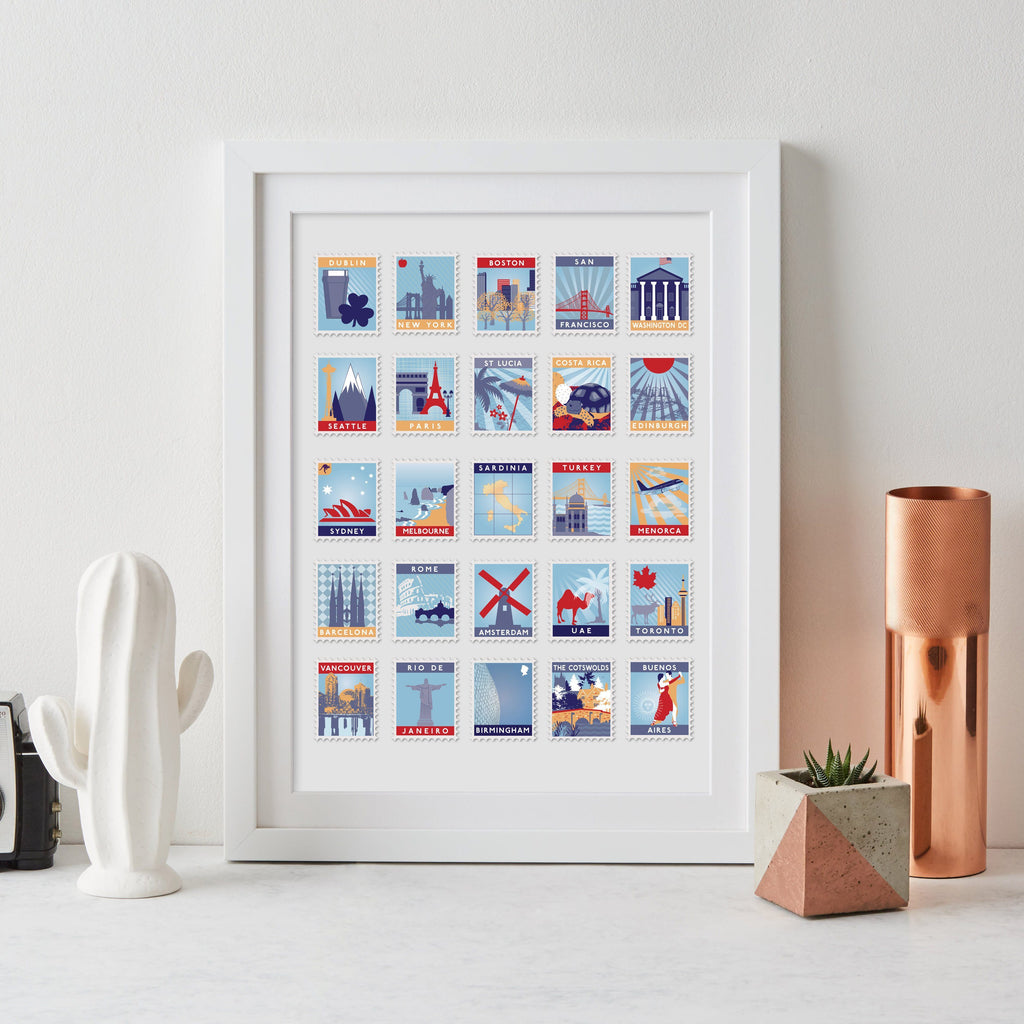 25th Anniversary Favourite Places Stamp Print - Betsy Benn