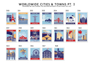 25th Anniversary Favourite Places Stamp Print  Print - Betsy Benn