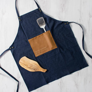 Dad's Own Burger Recipe Personalised Denim Apron