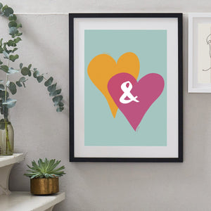 Personalised Entwined Hearts Ampersand Print