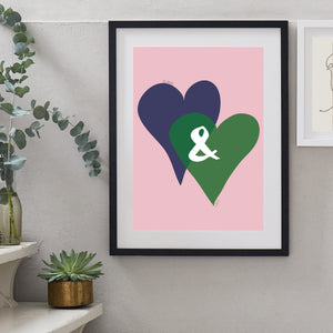 Personalised Entwined Hearts Ampersand Print-Print-Betsy Benn