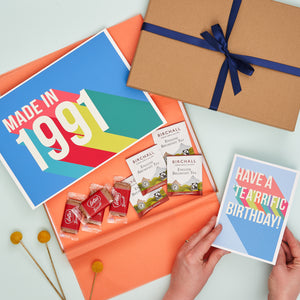 Tea, Biscuits And Year Print Birthday Letterbox Gift