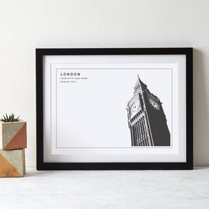 Big Ben London Monochrome Art  Print - Betsy Benn