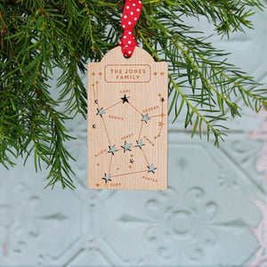 Family Constellation Wooden Christmas Tag