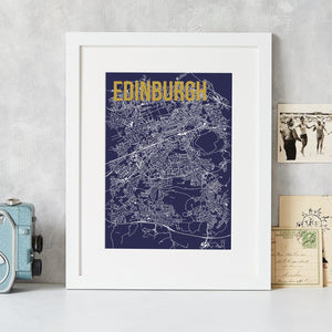 Abstract Map Print with Gold Foil Detail