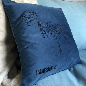 Dinosaur Personalised Velvet Cushion