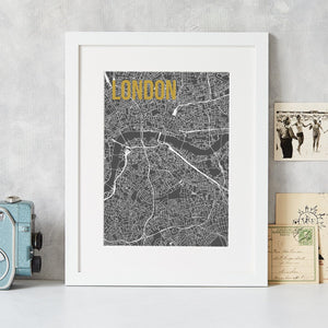 Abstract Map Print with Gold Foil Detail  Print - Betsy Benn