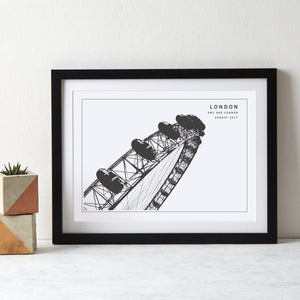 London Eye Monochrome Art  Print - Betsy Benn