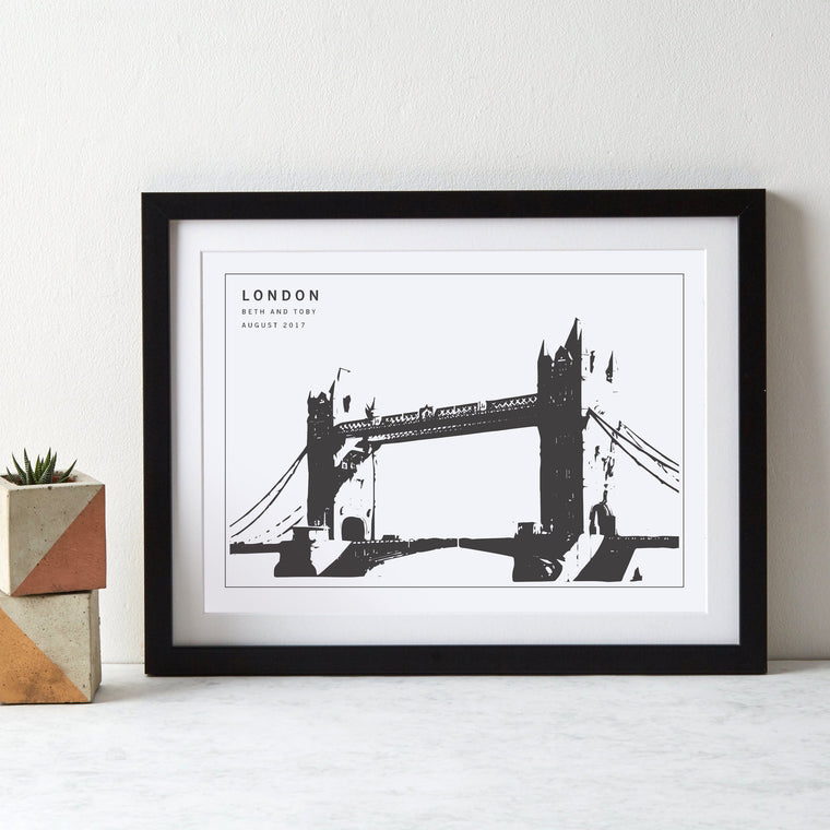 London Tower Bridge Monochrome Art Print - Betsy Benn