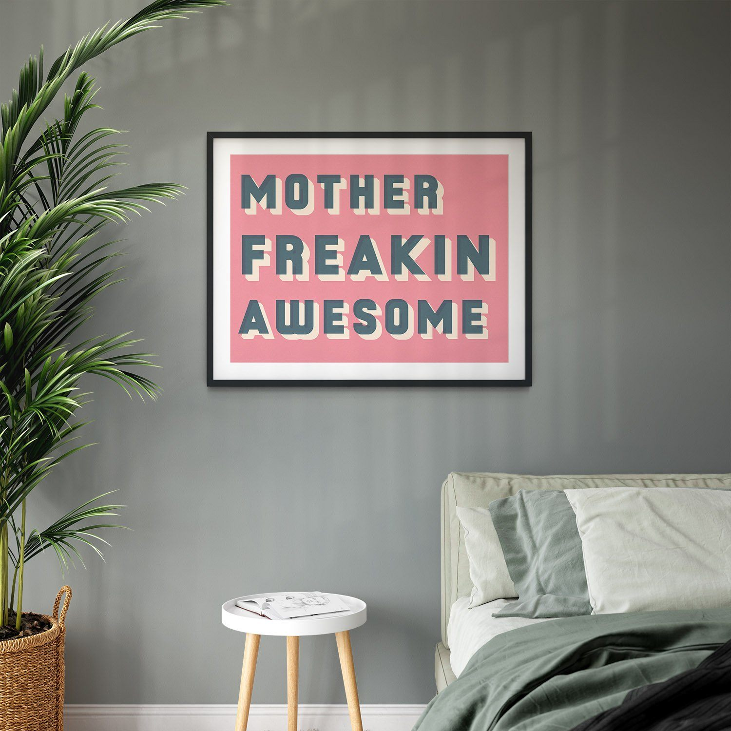 Bold Typographic Riso Print - Mother Freakin Awesome-Print-Betsy Benn