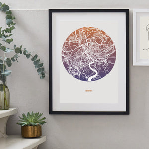 Ombre Map Print