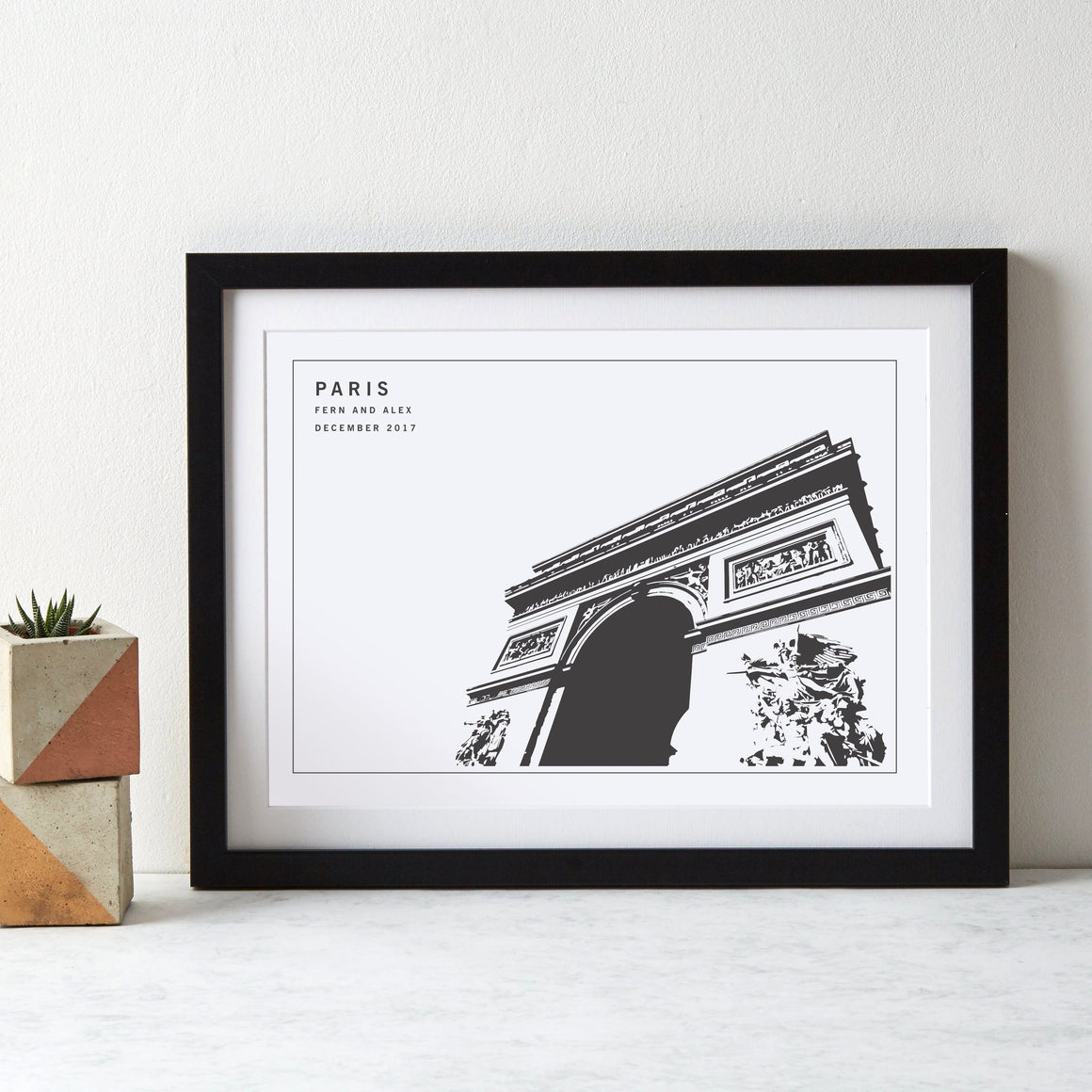 Paris Arc de Triomphe Monochrome Art Print
