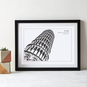 Leaning Tower of Pisa Monochrome Italy Art  Print - Betsy Benn
